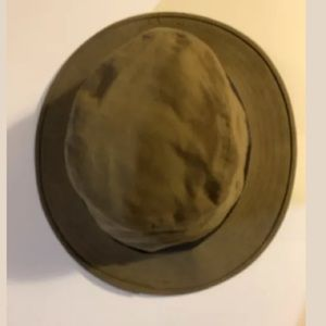 VTG FILSON Hat Packer Tin Oil Cloth Fish Brimmed